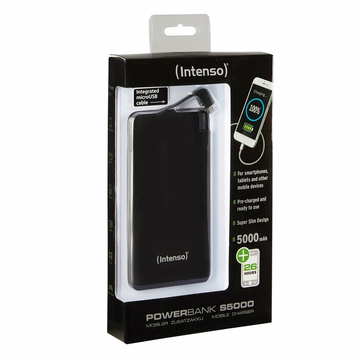 Intenso S5000 power bank Black Lithium Polymer (LiPo) 5000 mAh