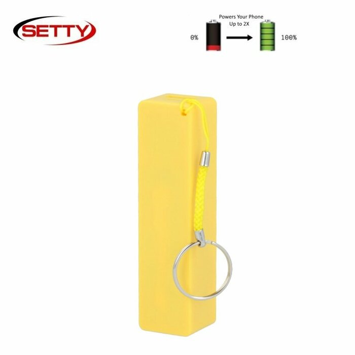 Setty Mini Cube Power Bank 2000mAh External Charger USB 5V 1A Port + Mico USB + Hand Strap Yellow