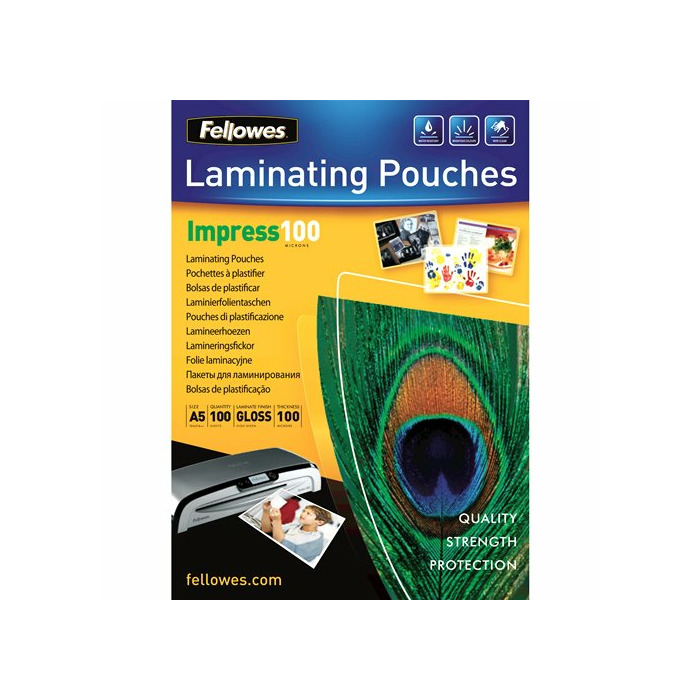 Fellowes A5 Glossy 100 Micron Laminating Pouch - 100 pack laminator pouch