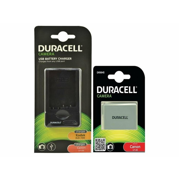 Duracell Bundle - replaces Canon LP-E8 Battery/Charger rechargeable battery