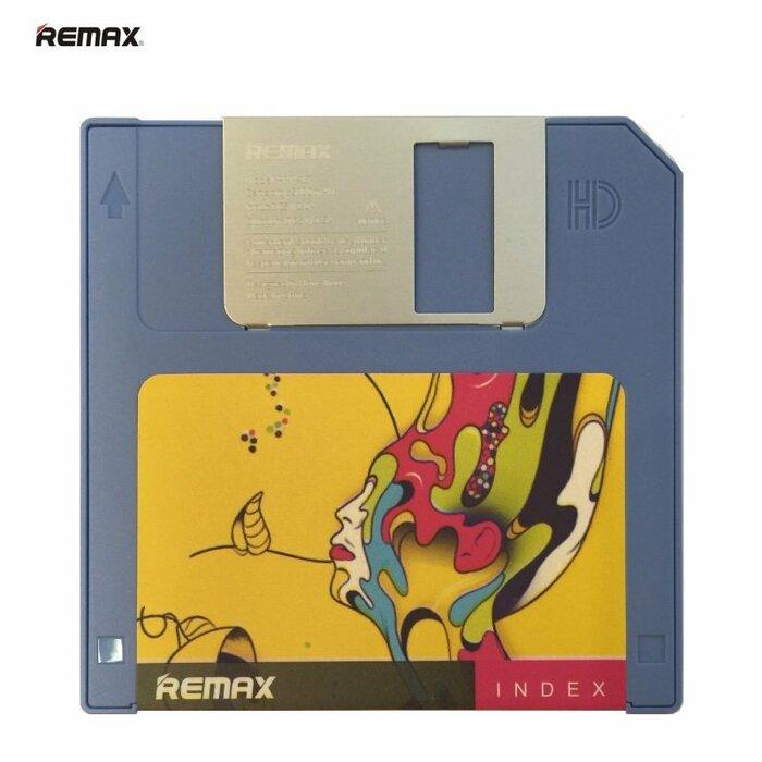 Remax RPP-17 5000mAh Floppy Disketes Dizaina #2 Power Bank USB Lādētājs 5V 1.5A Zils