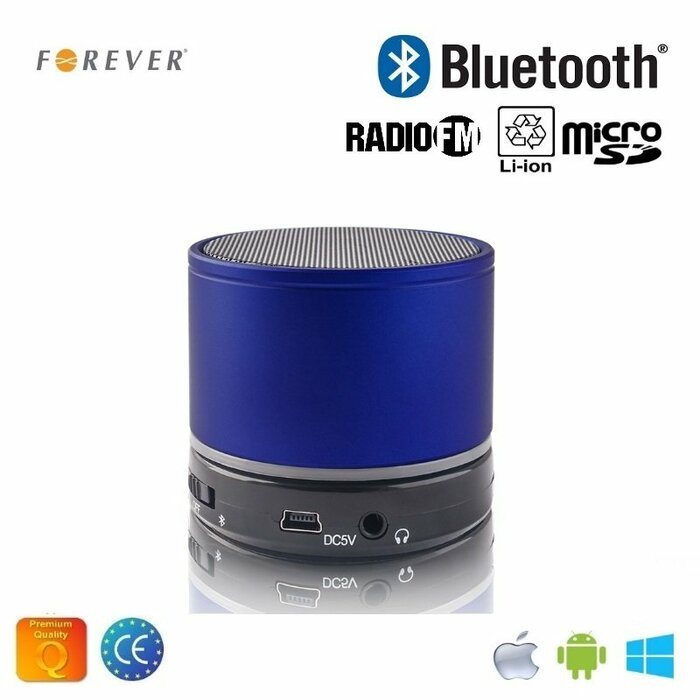 Forever BS-100 Bluetooth Speaker System with Micro SD / Radio / Aux / Phone Call Blue