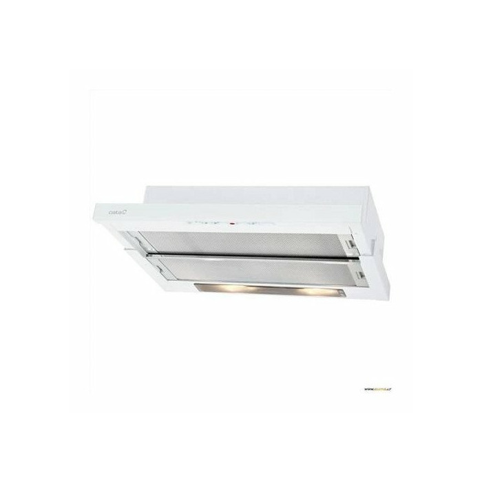 Hood CATA TF-5250 GWH Mechanical panel, Width 50 cm, 600 m³/h, White Glass, Energy efficiency class F, 64 dB, Built-in telescopic