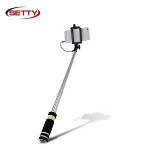 Setty Mini Kabatas Selfie Stick 61cm Teleskopisks - (fiksātors 6-8.5cm) ar 3.5mm Audio Jack un foto pogu rokturī Melns
