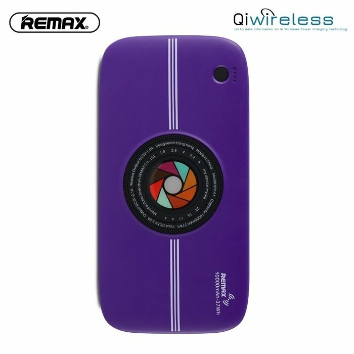 Remax RPP-91 2in1 10000mAh Power Bank & Wireless Qi Plate External Charger 5V Dual USB 2A Max Purple