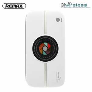 Remax RPP-91 2in1 10000mAh Power Bank Ārējais akumulātors un Bezvadu 1A Qi 5W Lādētājs ar 2x 5V USB 2A Max Balta