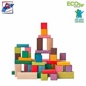 Woody 90656 Attīstošie dažādu ģeomētrisko formu koka krāsainie kluči (50gab.) bērniem no 3 gadiem + (1 gab. 2.5x2.5x2.5x2.5cm)