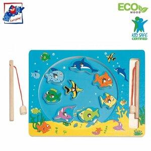 """Woody 90026 Eko koka roku motorikas attīstoša spēle ar magnētiskiem elementim - Makšķerēšana """"Dzīve jūrā"""" (10gab.) bērniem no 3 gadiem + (30x23сm)"""