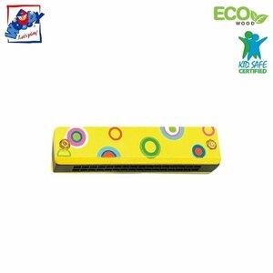 Woody 90710 Eko koka mūzikas instruments - Dzeltens mutes orgāns bērniem no 3 gadiem + (13cm)