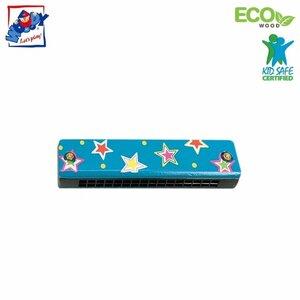 Woody 90710 Eko koka mūzikas instruments - Zils mutes orgāns bērniem no 3 gadiem + (13cm)