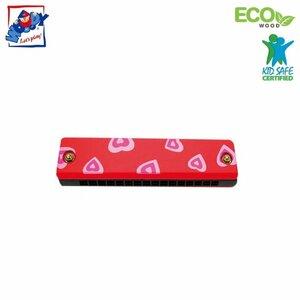 Woody 90710 Eko koka mūzikas instruments - Sarkans mutes orgāns bērniem no 3 gadiem + (13cm)