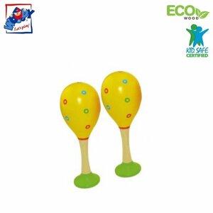 Woody 90712 Eko koka mūzikas instruments - Dzeltenas maracas (2gab.) bērniem no 3 gadiem + (20cm)