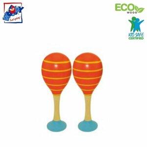 Woody 90712 Eko koka mūzikas instruments - Oranžas maracas (2gab.) bērniem no 3 gadiem + (20cm)