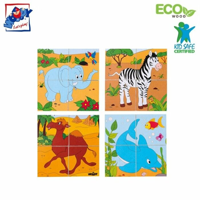 Woody 90921 Eco Wooden Educational Picture cubes puzzle (6 pictures) - Safari (4pcs) for kids 3y+ (12x12cm)