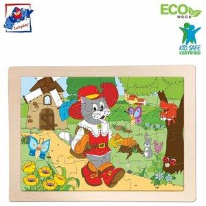 """Woody 91157 Eko koka attīstošā puzle rāmī """"Kaķis zābakos"""" (24gab.) bērniem no 3 gidem + (29x21.4cm)"""