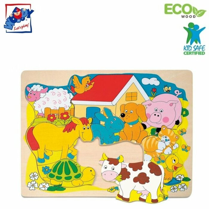 Woody 90340 Eco Wooden Educational Shape Puzzle - Farm animals (10pcs) for kids 2y+ (30x23cm)