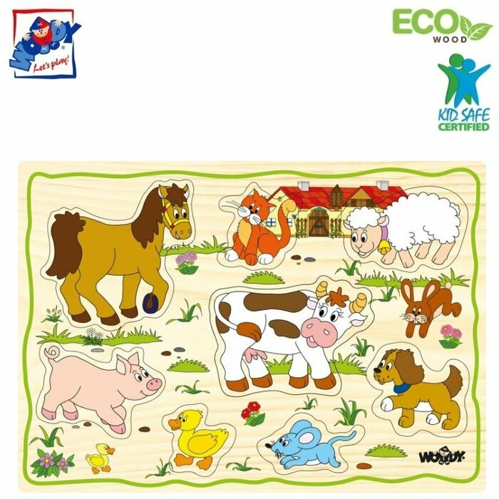 Woody 90252 Eco Wooden Educational Puzzle set - Farm animals (12pcs) for kids 2y+ (30x21cm)
