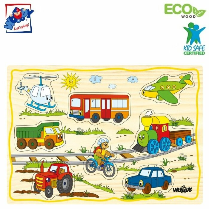 Woody 90252 Eco Wooden Educational Puzzle set - Vehicles (12pcs) for kids 2y+ (30x21cm)