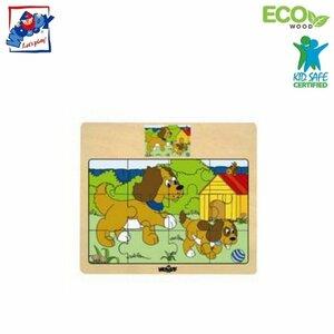 """Woody 93010 Eko koka attīstošā puzle """"Suņi"""" (12gab.) bērniem no 3 gadiem + (17x13cm)"""