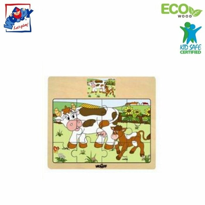 Woody 93010 Eco Wooden Educational Puzzle - Cows (12pcs) for kids 3y+ (17x13cm)