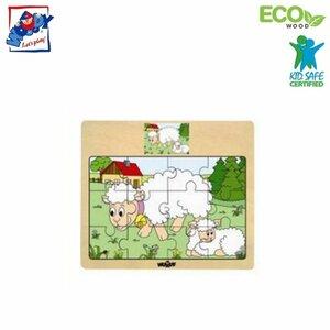 """Woody 93010 Eko koka attīstošā puzle """"Aitiņas"""" (12gab.) bērniem no 3 gadiem + (17x13cm)"""