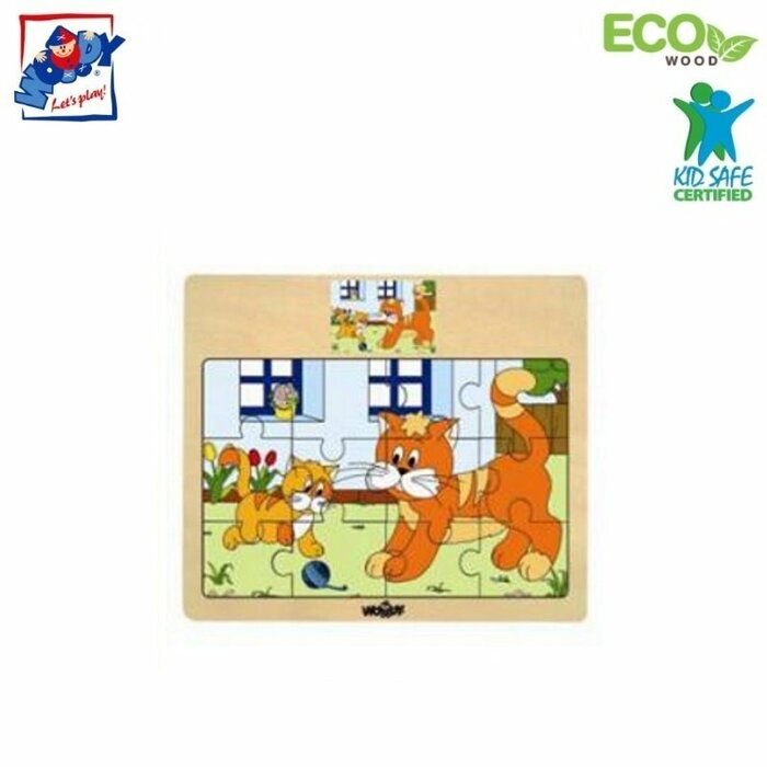 Woody 93010 Eco Wooden Educational Puzzle - Cats (12pcs) for kids 3y+ (17x13cm)