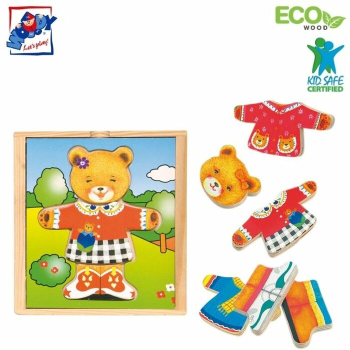 Woody 90011 Eco Wooden Educational Color Dress-up puzzle Bear girl (18pcs) for kids 3y+ (13x14cm)