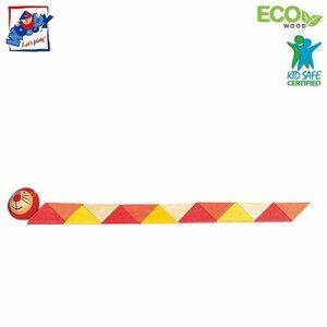 Woody 90491 Eko koka roku un pirkstu motorikas attīstoša rotaļlieta - Oranža Čūska bērniem no 3 gadiem + (21cm)