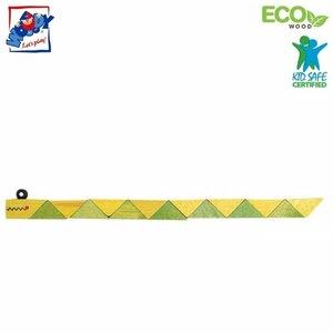 Woody 90491 Eko koka roku un pirkstu motorikas attīstoša rotaļlieta - Zaļa Čūska bērniem no 3 gadiem + (21cm)