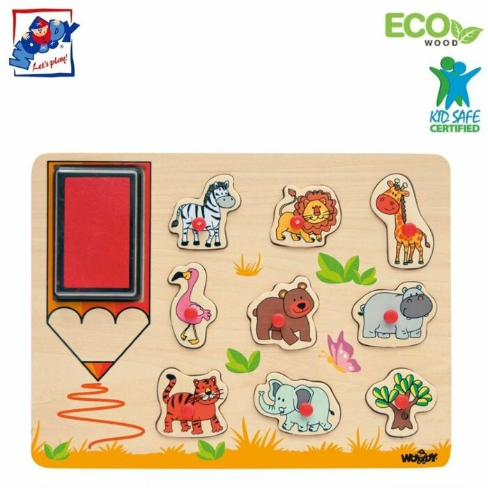 Woody 91185 Eco Wooden Educational and Fun Puzzle-Stamps - Wild animals (10pcs) for kids 3y+ (30x21cm)