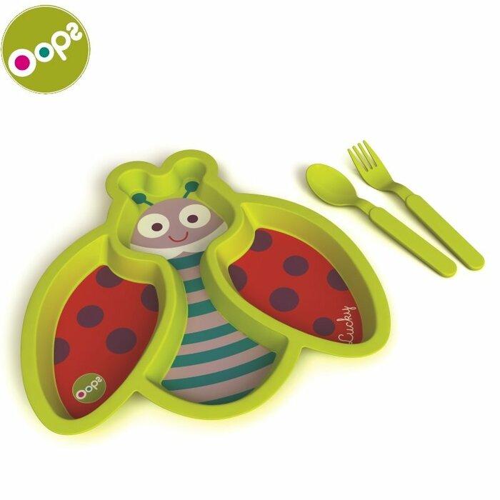 Oops Ladybug Easy meal Trauku komplekts (3 gab.) bērniem no 4m+ (24x2.8x35.5cm) Zaļš 40005.33