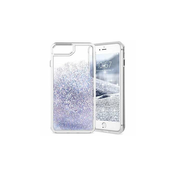 Case Hardcase iPhone 7/8 Plus silver Glitter Hearts