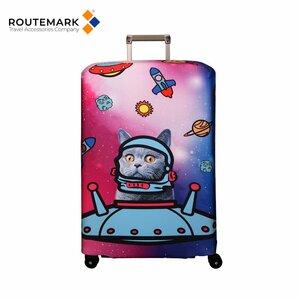 """Routemark SP180 Mazgājams Premium kvalitātes Aizsargapvalks bagāžas M/L koferim ar Individuālu dizainu """"Racket"""" Zils"""