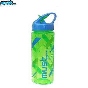 MUST Caurspīdīga plastmasas ūdens pudelīte (bez BPA) (500ml) bērniem no 3+ gadiem Zaļa ar līnijām