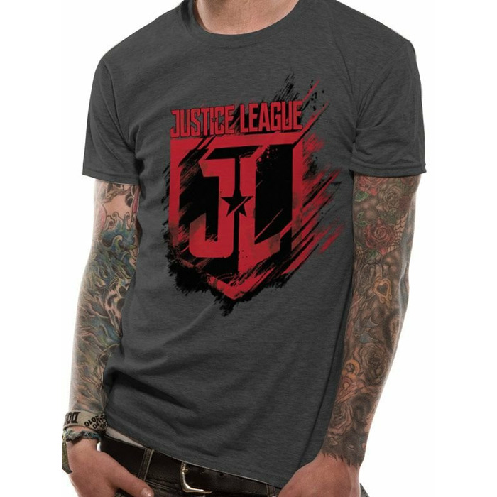 T-Shirt Justice League Movie - Shield, Grey Size M