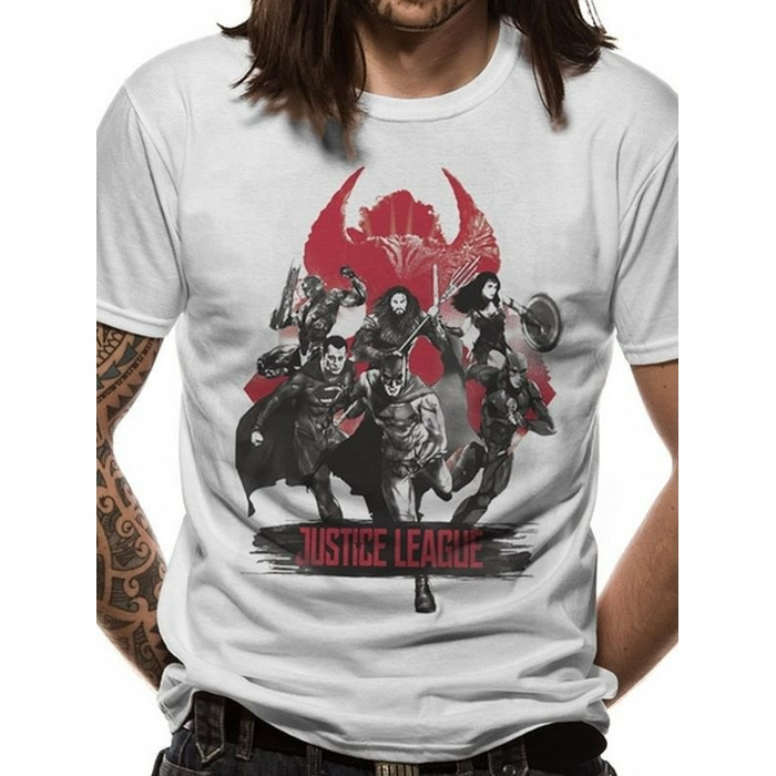 T-Shirt Justice League Movie - Fight, White Size M