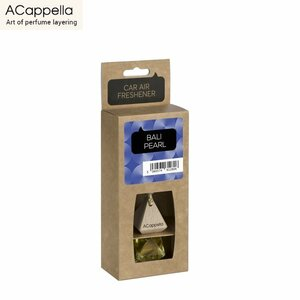 """ACapella Pendant Car Air Freshener """"Bali Perle"""" in glass bottle with wooden cap (7ml)"""