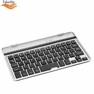 TakeMe Universālā alumīnija Bluetooth 3.0 klaviatūra prikeš Mobilajiem telefonim & Planšetdatoriem (līdz 7 collām) ar stendu (Android / iOS / Windows) Sudrabaina