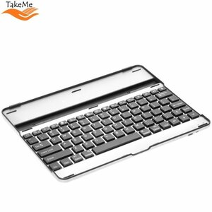 TakeMe Universālā alumīnija Bluetooth 3.0 klaviatūra prikeš Mobilajiem telefonim & Planšetdatoriem (līdz 9.7 collām) ar stendu (Android / iOS / Windows) Sudrabaina