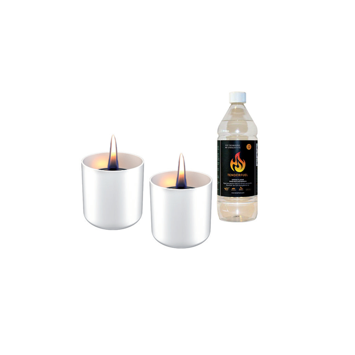 Tenderflame Gift Set, 2 Tabletop burners + 0,5 L fuel,  Lilly 8 cm White