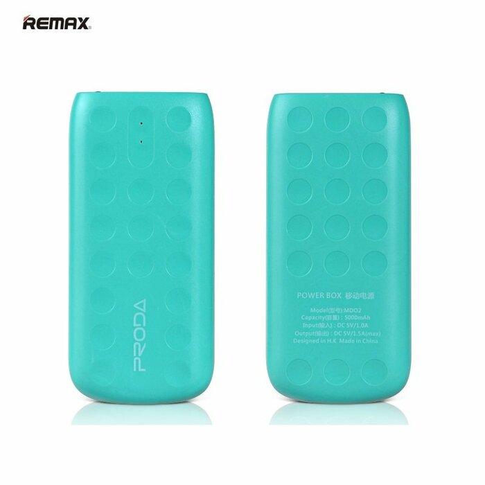 Remax Lovely 5000mAh Ārējas uzlādes Batereja USB 5V 1.5A Telefonam un Planetdatoram + Led Lukturis Zaļa