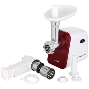 Scarlett Meat Grinder SC-MG45M08 White, 1600 W, Number of speeds 1, Throughput (kg/min) 2,5, 2 attachments for grinding products: a coarse grater and a large shredder. 1 grating with holes for the preparation of minced: 7mm