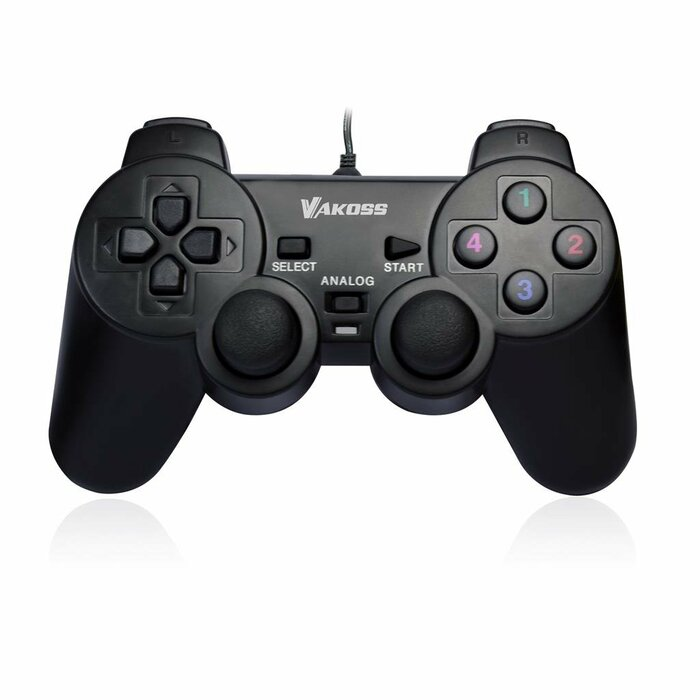 VAKOSS Gamepad USB, Dual-Shock function, Support Digital and Analog modes