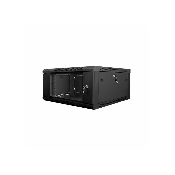 Cabinet one-section Lanberg WF01-6604-10B (4U; 280mm / 600mm / 600 mm; hanging; Glass; 19''; black color)