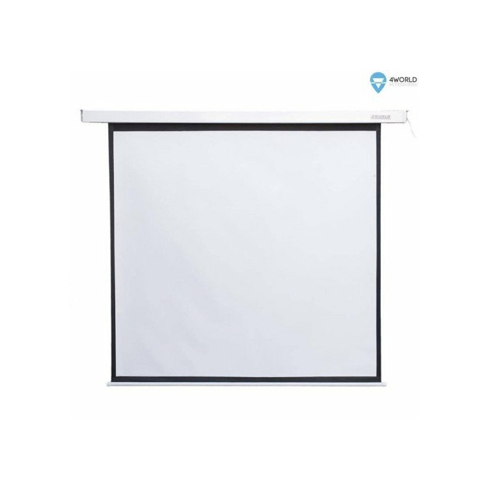4World Electric mount projection screen, remote, 152x152 (1:1) Matt White