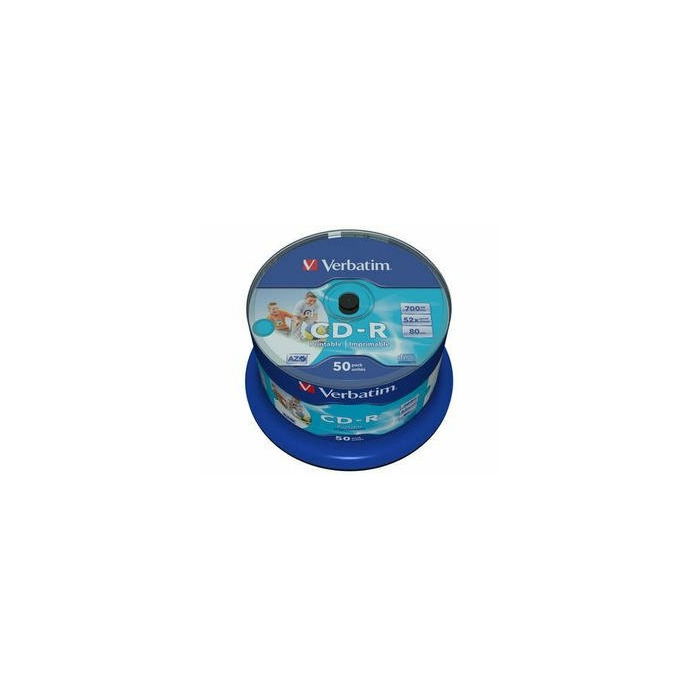 CD-R AZO Verbatim 700MB 1x- 52x Wide Printable non ID,50 Pack Spindle