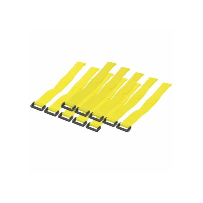 Techly Hook and loop cable tie straps 300 x 20 mm, 10 pcs, yellow