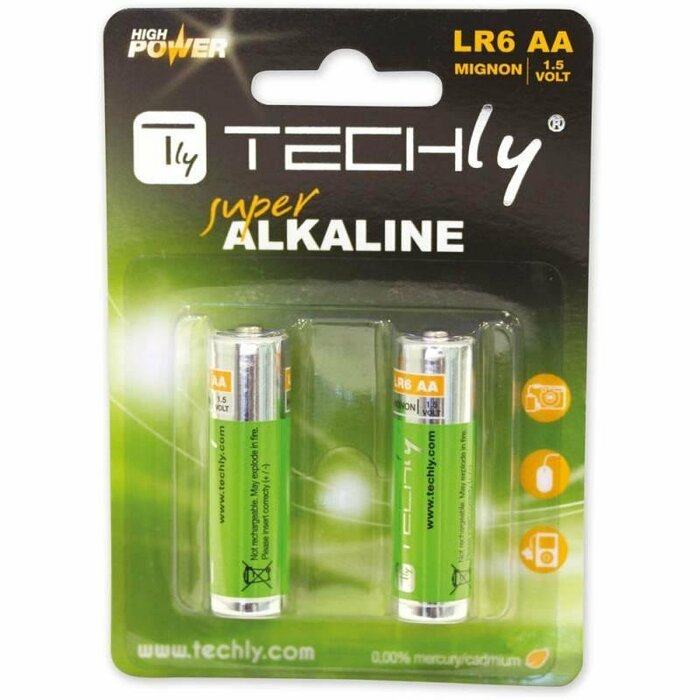 Techly Alkaline batteries 1.5V AA LR6 2 pcs