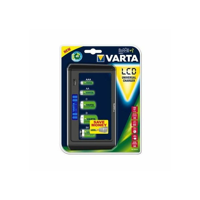 Universal charger LCD VARTA 9V,R14,R20, R3, R6 (without batteries)