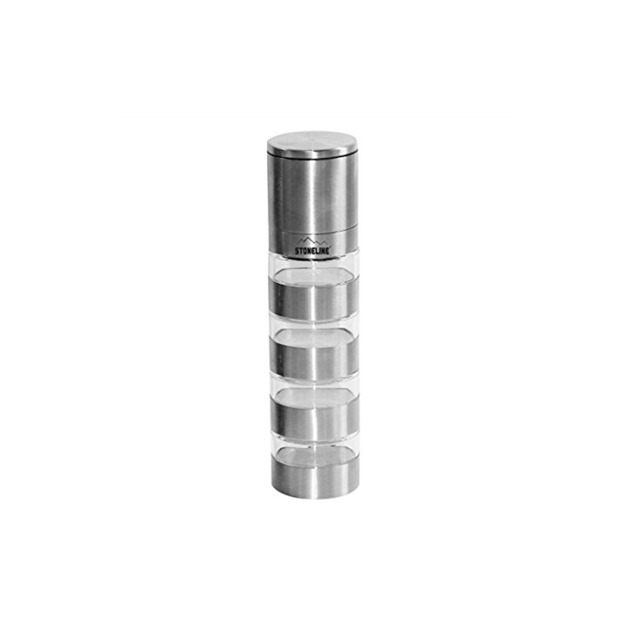 Stoneline 18216 Grinder top with 4 jars, Stainless steel, ceramic, PP, Diameter approx. 5.1 cm, height: approx. 21 cm, approx. 40 ml per spice container. This spice mill is suitable for four different spices or herbs., Stainless steel